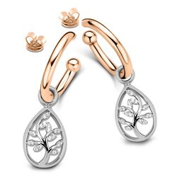 Tubo oorstekers rosé met aanhangers tree of life MY iMenso