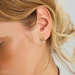 Geelgouden oorstekers met witte parel