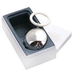 Zilveren rammelaar rond glad, graveerbaar met naam