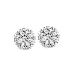 Witgouden oorstekers bloemetje met diamantjes