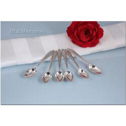 6 zilveren mokkalepeltjes