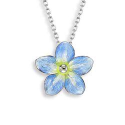 Nicole Barr zilveren hanger vergeet-mij-nietje blauw emaille NN0333A