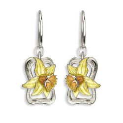Nicole Barr zilveren oorbellen gele narcis NN0439A