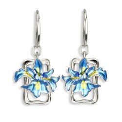 Nicole Barr zilveren oorbellen blauwe iris