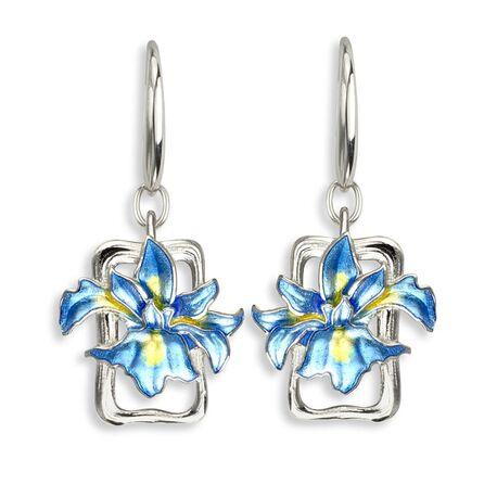 Nicole Barr zilveren oorbellen blauwe iris blauw emaille