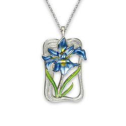 Nicole Barr zilveren hanger iris bauw en groen emaille
