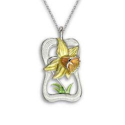 Nicole Barr zilveren collier met hanger gele narcis NW0439A