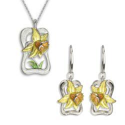 Nicole Barr zilveren sieradenset hanger en oorbellen gele narcis