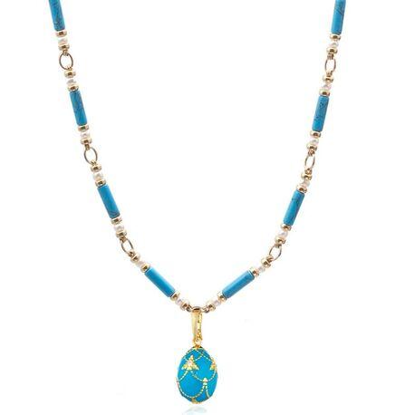Set collier met ei hanger turkoois met zirkoon Maison Tatiana Fabergé