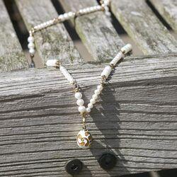 Sieradenset collier met ei hanger Fabergé verguld wit