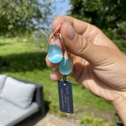Tatiana Fabergé oorbellen blauwgroen rosé verguld e1149lb