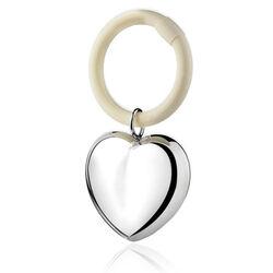 Verzilverde rammelaar hart aan bijtring direct graveren
