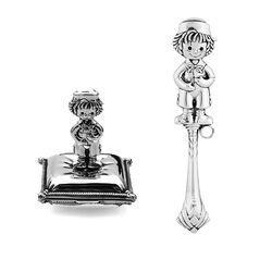 Zilveren cadeauset jongetje met tandendoosje en rammelaar