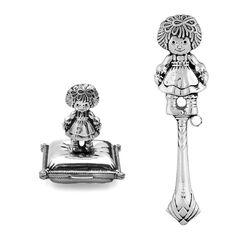 Zilveren cadeauset meisje tandendoosje en rammelaar
