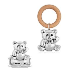 Geboortecadeauset beer zilveren rammelaar en tandendoosje