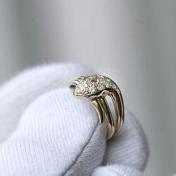 Vintage geelgouden ring slang slangenring de kop bezet met briljanten