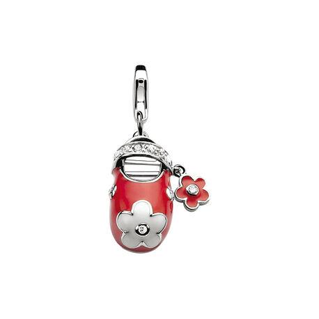 Zilveren bedel rood wit schoentje ch161 Zinzi