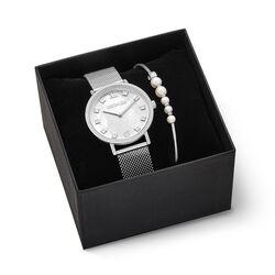 Coeur de Lion horloge cadeauset wit en parels 7610-53-1725