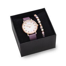Coeur de Lion horloge cadeauset paars 7611-50-0814