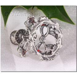 Zilveren miniatuur kandelaartje met kaarsje en hulst