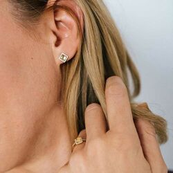 Julie Julsen JJGER0579.CT geelgouden oorstekers citrien en diamanten