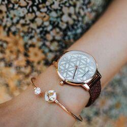 Julie Julsen Flower of Life horloge pruim rood JJW1235