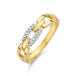 Geelgouden paperclip ring bezet met diamant