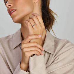 Geelgouden crossover ring bezet met diamanten