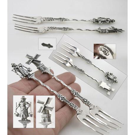 Stel zilveren zuurvorken oud Hollands