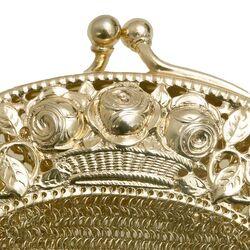 Verguld zilveren malienkolder tas zilveren beugel met roosjesmotief