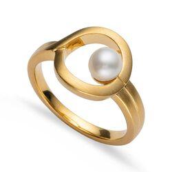 Bastian Inverun verguld zilveren ring met parel 39580
