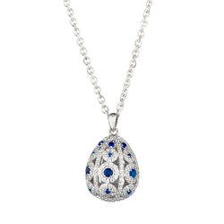 Tsars Collection zilveren eihanger blauw wit ALP02SW