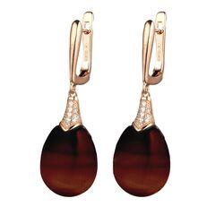 Tsars Collection rosé oorhangers bruin cateye met zirkoon