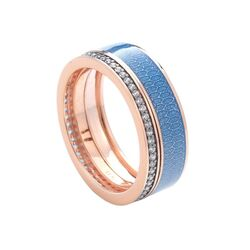 Tsars Collection rosé ring blauw emaille met zirkoon