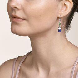 Coeur de Lion oorbellen edelstenen en Swarovski blauw groen 4905-20-0705