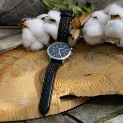 Sportief horloge zwart leren band Fred Bennett