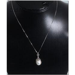 Zilveren hanger met parel en markasiet