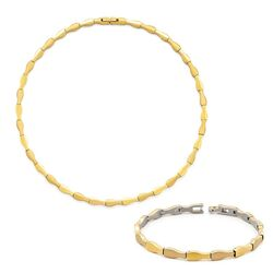 Boccia set verguld titanium collier met armband