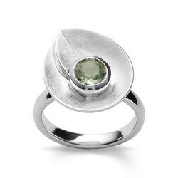 Bastian Inverun zilveren ring blad met groen amethist