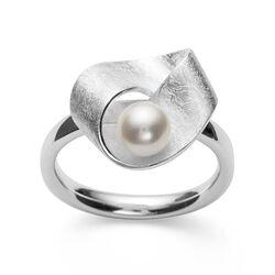 Bastian Inverun zilveren ring krasmat met parel