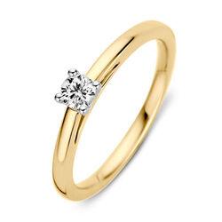 Geelgouden ring bezet met briljant 0,19ct van Excellent Jewelry