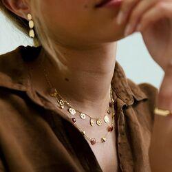 Geelgouden set collier en oorbellen met bloemen Excellent Jewelry