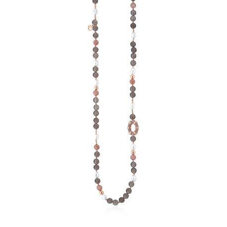 Leluen rosé bamboo collier grijs agaat