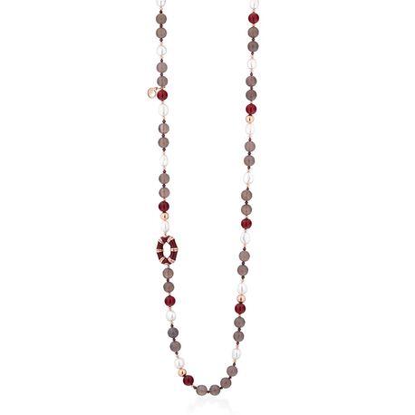 Lelune grijs agaat collier burgundy agaat rood emaille parels
