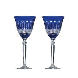 Stel blauw kristallen wijnglazen Tsars Collection