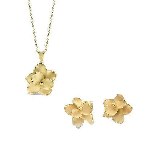 Geelgouden oorbellen met bijpassend collier met hanger bloem