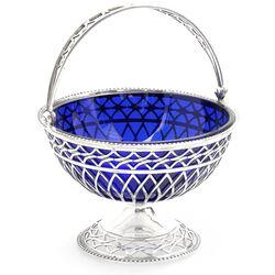 Zilver bonbon of suikermandje met blauw glas Spoelstra Watergraafsmeer 1916