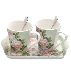 Cadeauset koffiekopjes op een dienblad pimpernel roses met twee zilveren koffielepels