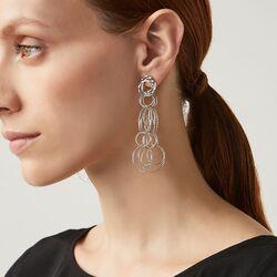 Lange zilveren oorbellen bubbles Raspini
