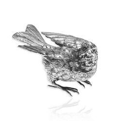 Zilveren mus met open vleugels